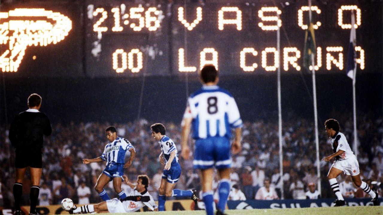 Partido entre el Deportivo y el Vasco da Gama en un viaje del equipo a Brasil