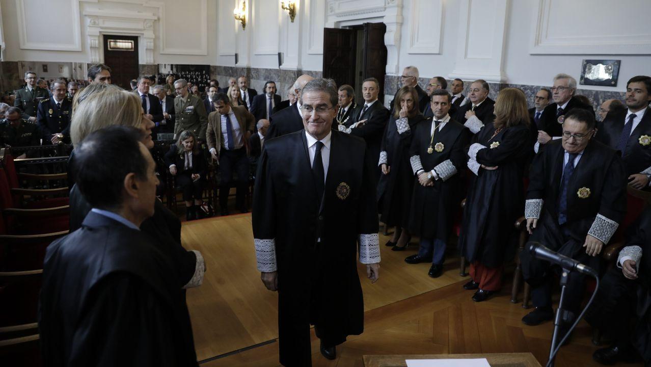 El presidente del Tribunal Superior de Xustiza de Galicia, José María Gómez y Díaz-Castroverde, este viernes en la toma de posesión de los nuevos presidentes de las salas de lo Social y de lo Contencioso-Administrativo