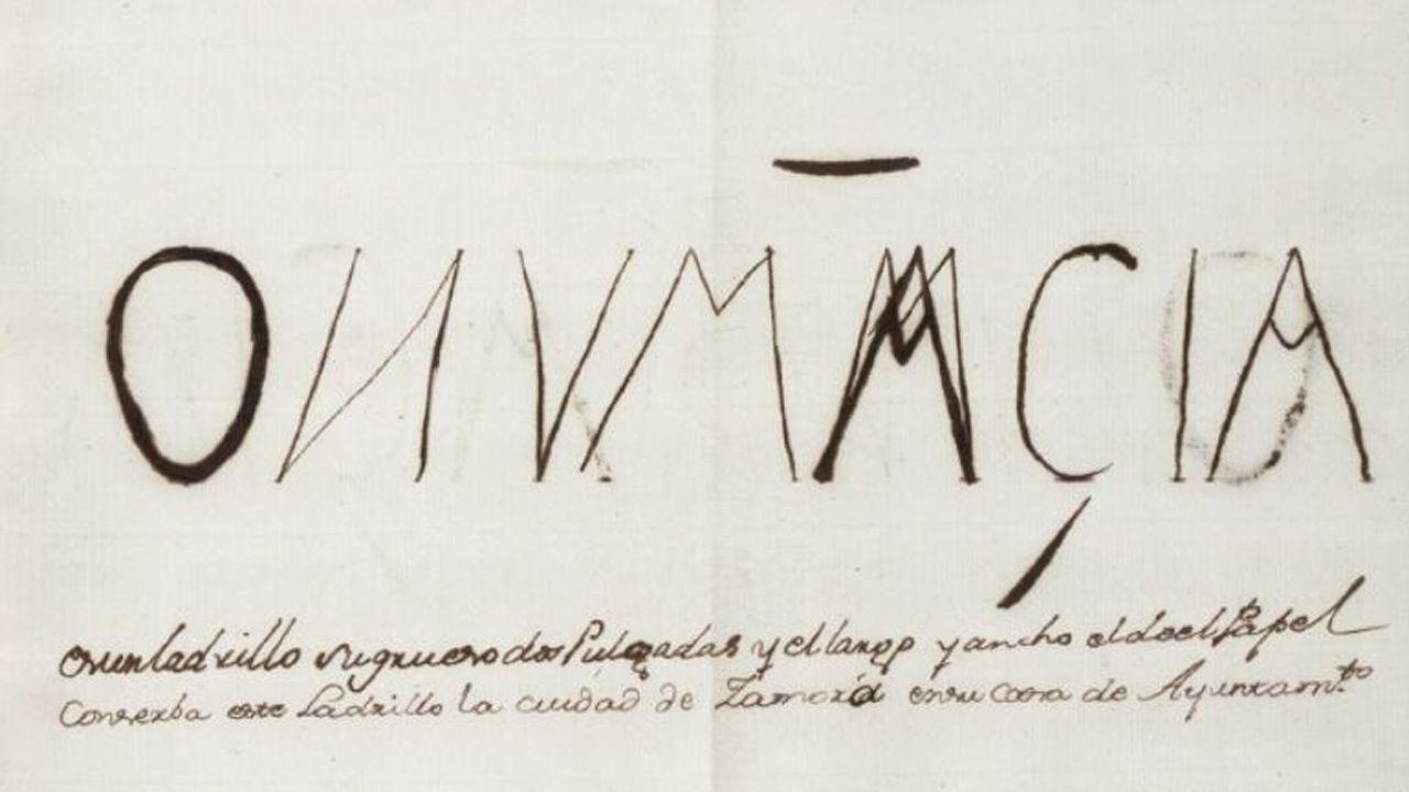 Copia que José Cornide hizo del ladrillo encontrado