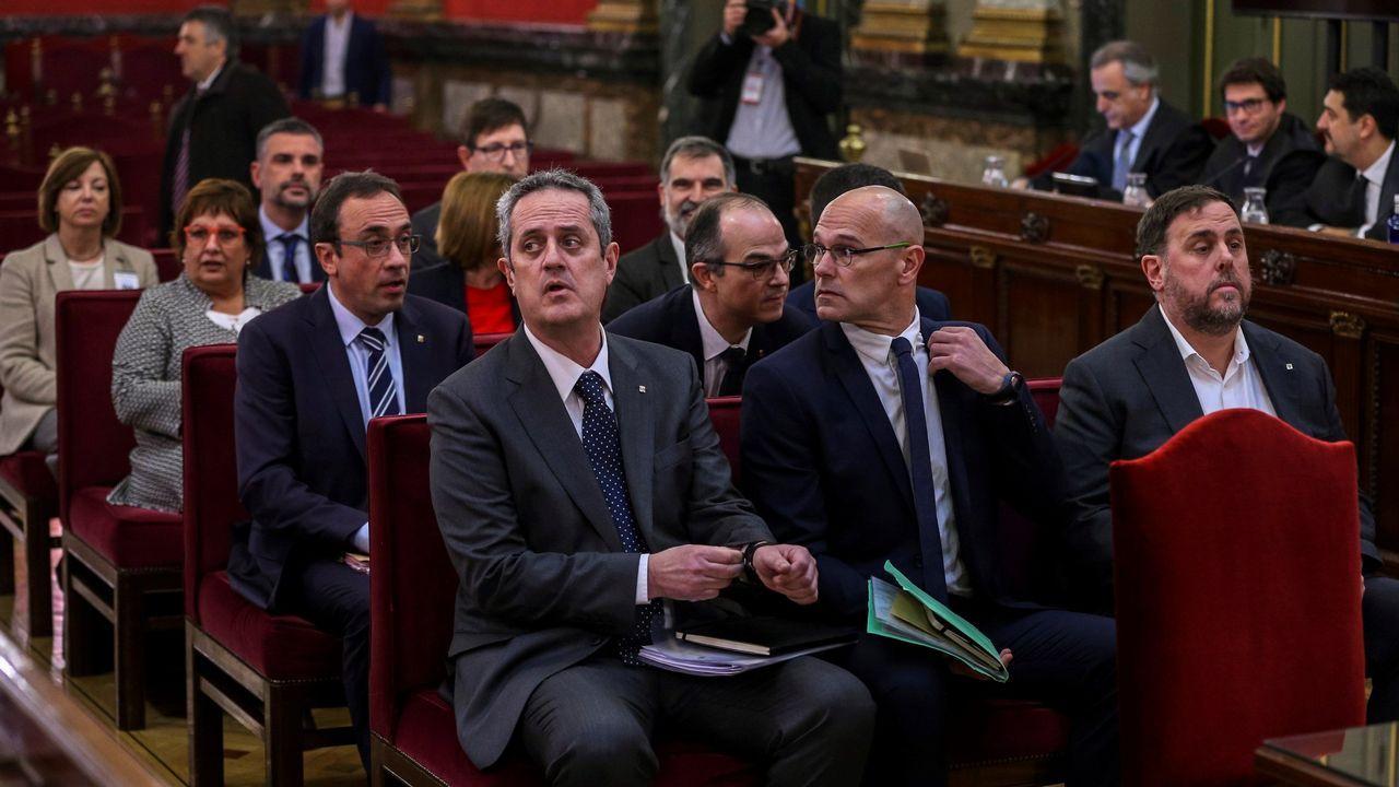 De izquierda a derecha, Forn, Romeva y Junqueras en el juicio por el desafío secesionista