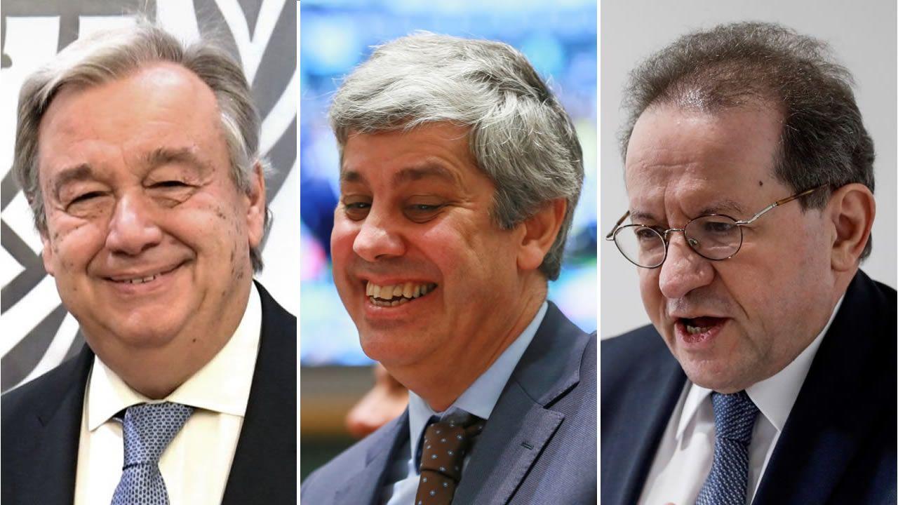 De izquierda a derecha, Antonio Guterres, Mário Centeno y Vítor Constâncio