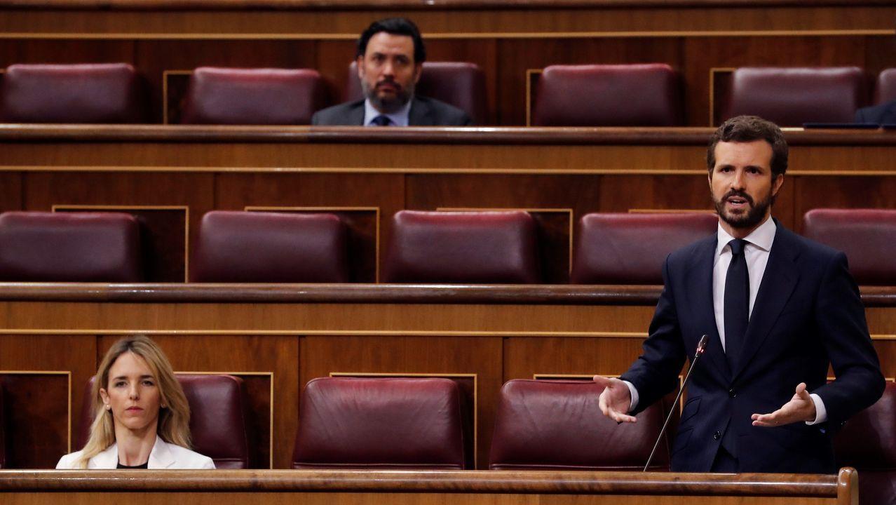 La distancia entre Gobierno y oposición se escenifica en el Congreso.Los ministros de Interior, Sanidad, Defesa y Transportes, en una rueda de prensa en la Moncloa