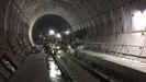 Montaje de vía en los túneles de Pajares