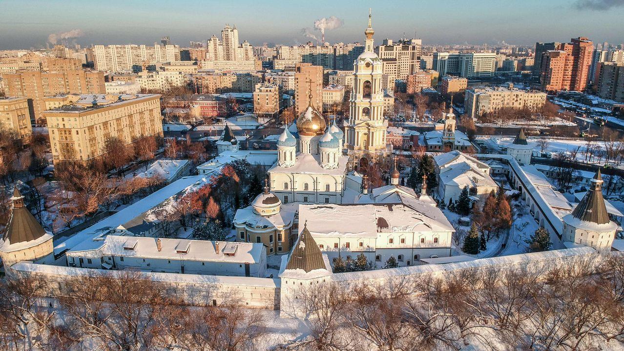 Fotografía aérea mostrando el monasterio Novospassky de Moscú