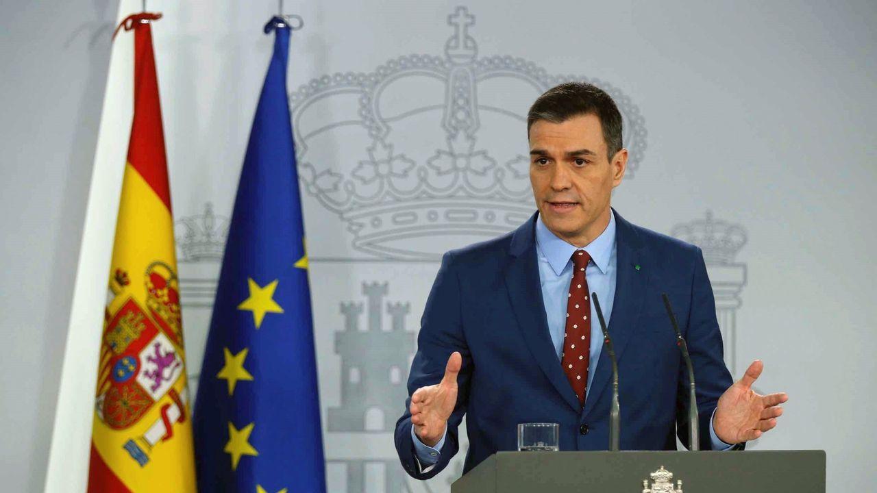 Pedro Sánchez comunica la composición del nuevo Gobierno de coalición.Pedro Sánchez, durante su comparecencia en la Moncla para informar de los integrantes del nuevo Gobierno