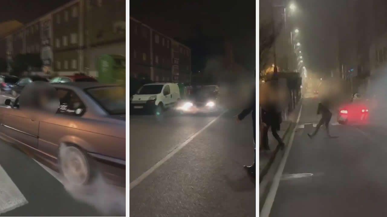 Identifican por un vídeo en Instagram a un conductor que quemó rueda con su coche por el centro de Marín en Fin de Año