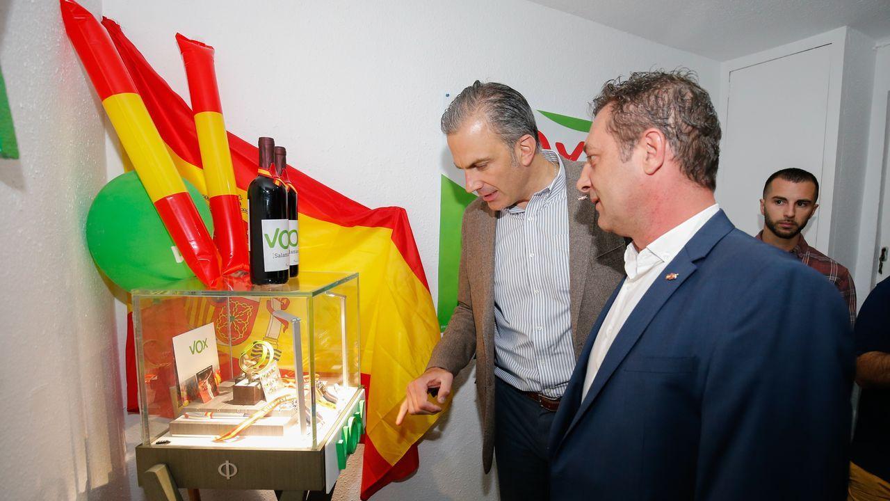 Ortega Smith, durante la inauguración de la sede de Vox en la localidad salmantina de Villena