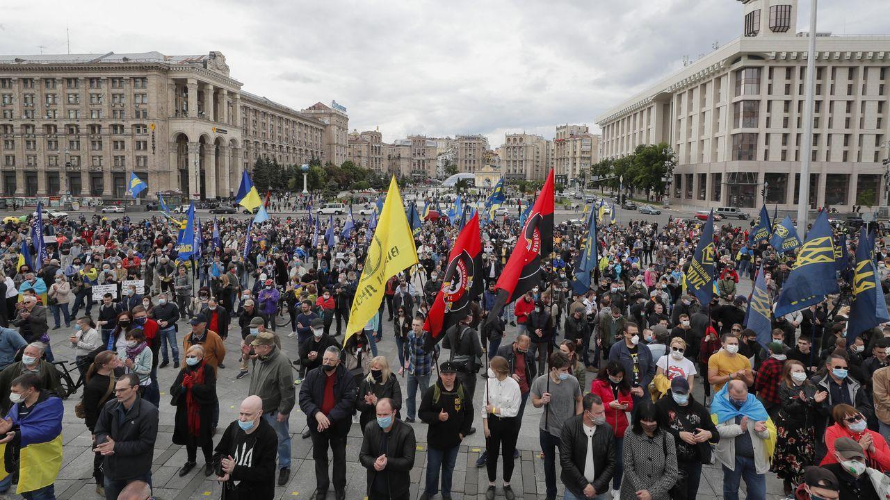 Protestas contra el Gobierno ucraniano, ayer en Kiev