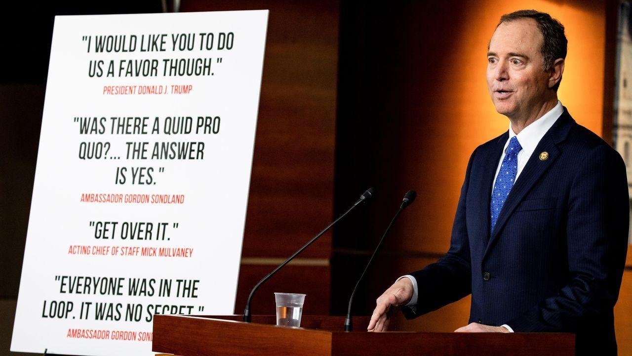 El demócrata Adam Schiff, durante la presentación de las conclusiones