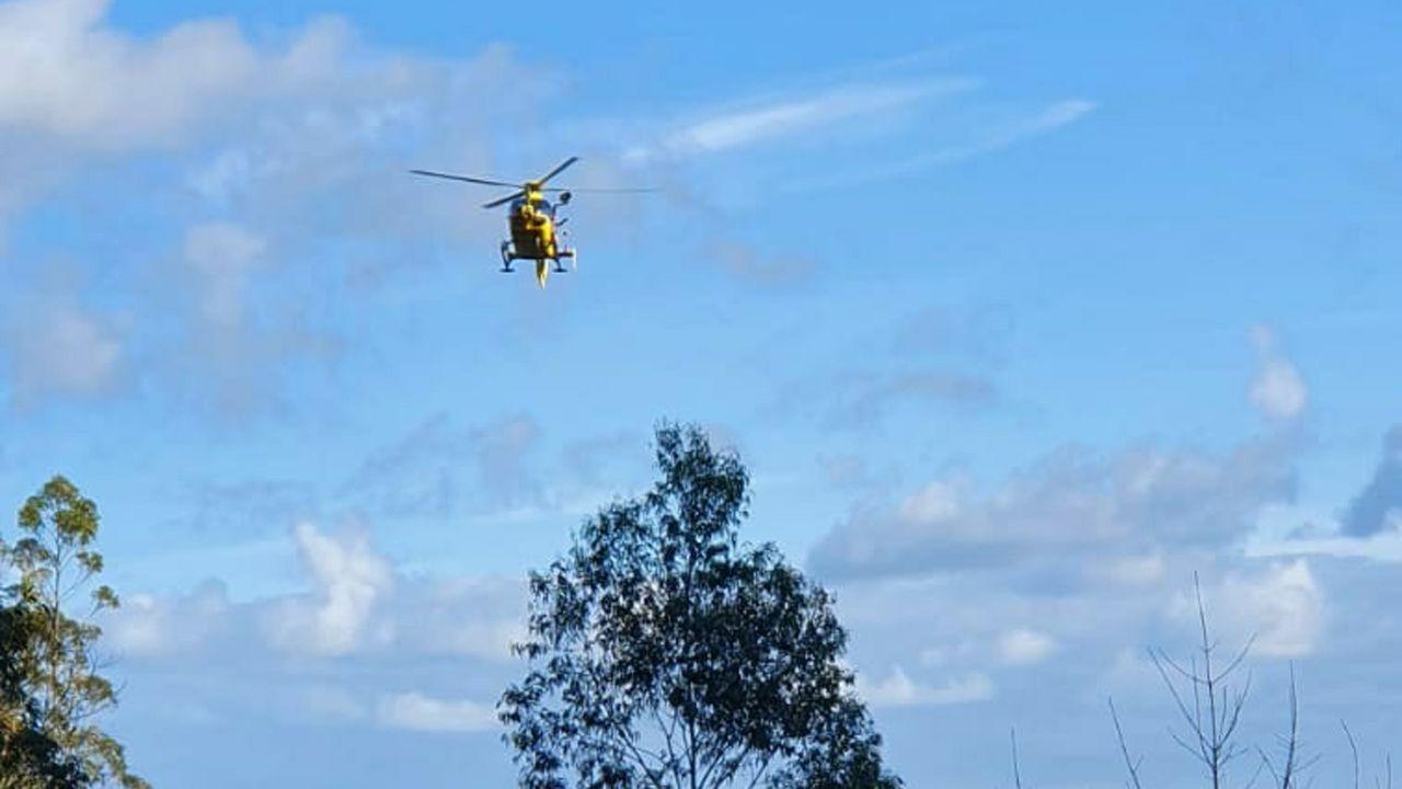 Helicóptero medicalizado que realizó el rescate del cazador