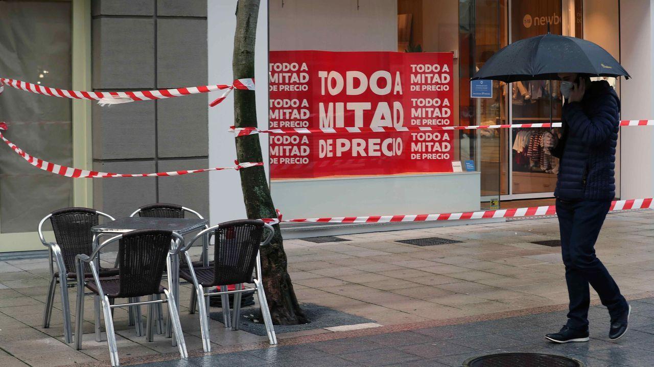Una calle de Oviedo, durante el cierre del concejo