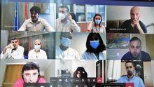 Reunión del consejero Borja Sánchez con varios científicos