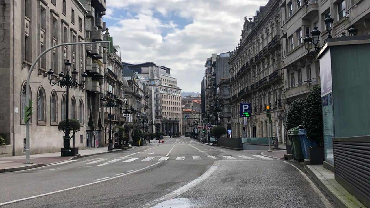 Ni un solo coche en la Policarpo Sanz, Vigo
