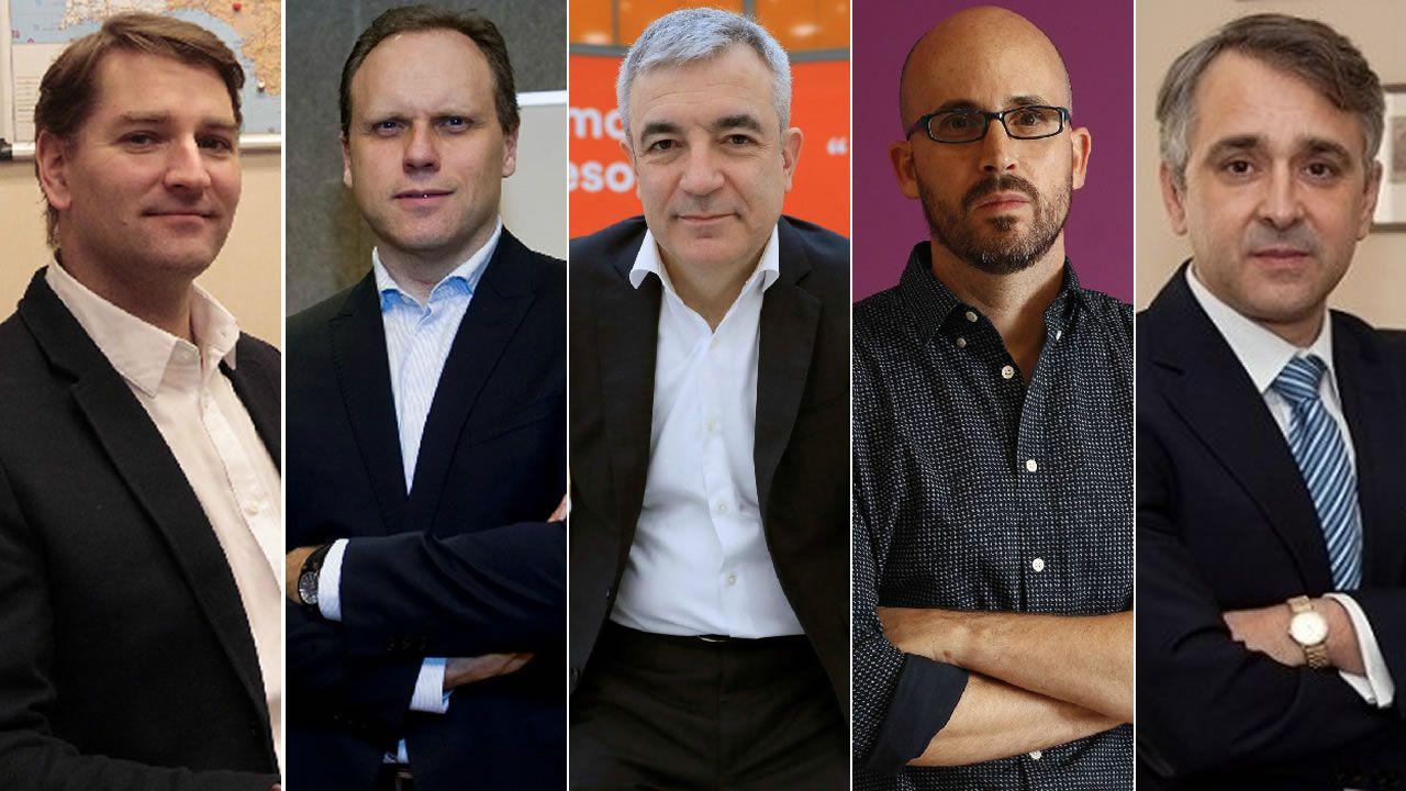 La Secretaría de Estado de Comercio, Xiana Méndez visita Mindtech en Vigo.Manuel de la Rocha (PSOE), Daniel Lacalle (PP), Luis Garicano (C´s), Nacho Álvarez (UP) y Rubén Manso (Vox)