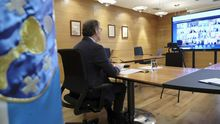 Detalle de la videoconferencia de Núñez Feijoo con Moncloa y el resto de presidentes autonómicos