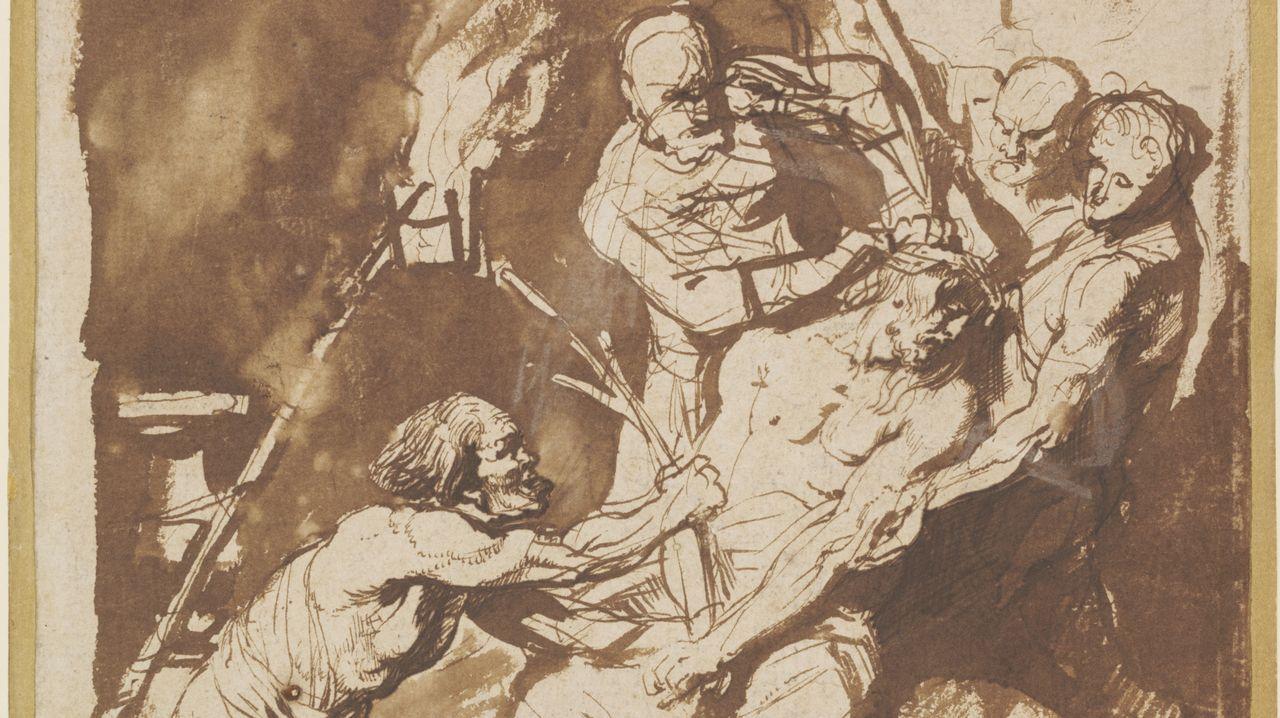 trazossiete.VIOLENTO VAN DYCK. Este boceto a pluma es la pieza más cercana que se conserva de la obra maestra «Cristo coronado con espinas, antes de 1621» de van Dyck que se perdió en un bombardeo en Berlín