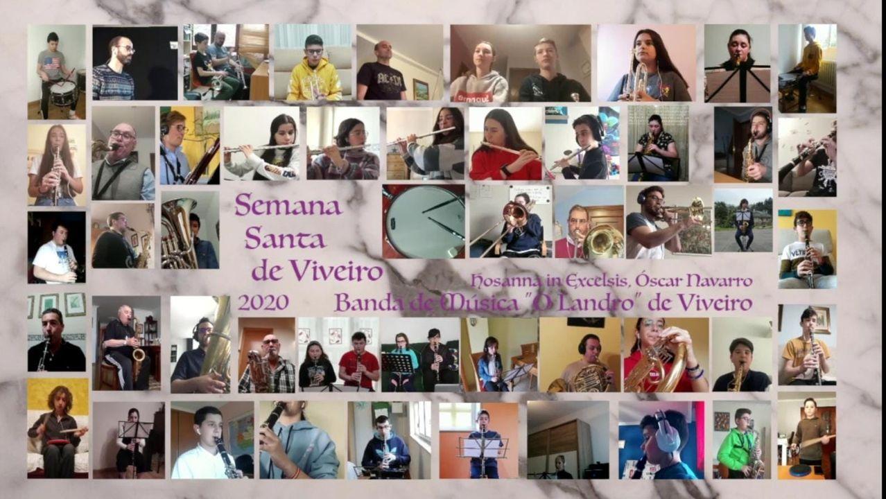 Medio centenar de músicos da Banda de Música O Landro graváronse nas súas casas durante o confinamento para ofrecer un concerto virtual