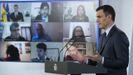 Pedro Sánchez durante la rueda de prensa en la que dio cuenta del plan de desescalado