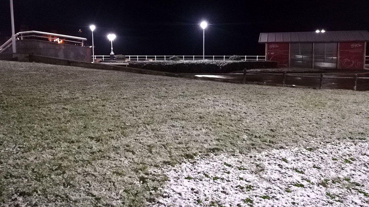 Nieve en Oviedo.Nieve en el Naútico de Gijón