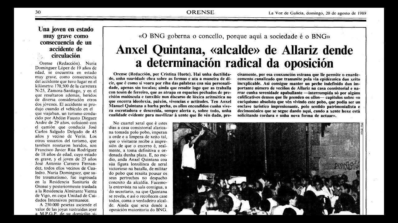 Detalle de una página de La Voz de 1989 que relata el camino de liderazgo de Quintana en Allariz, en un tenso pulso que lo llevaría meses después a la alcaldía