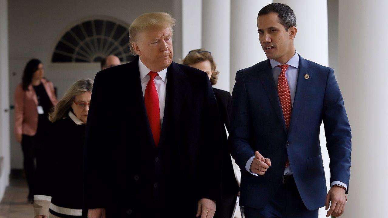 Donald Trump y Juan Guaido, el pasado febrero, durante un encuentro en la Casa Blanca