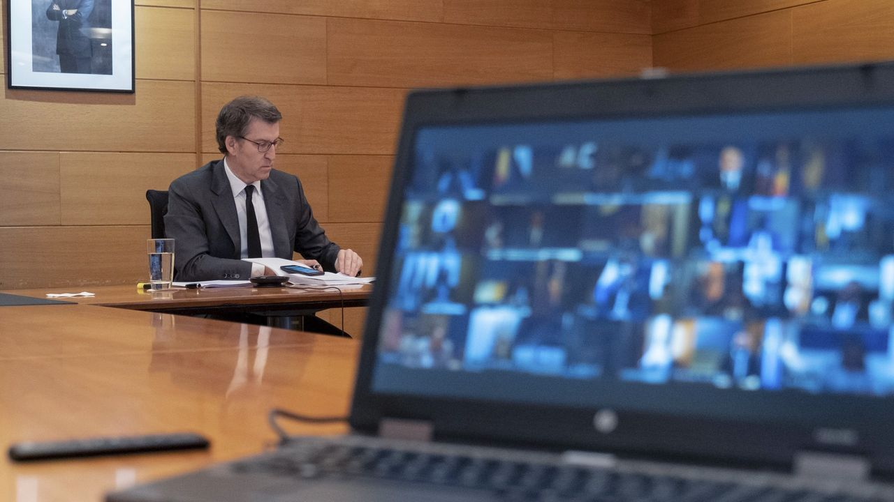 Comparecencia de Feijoo tras la décima videoconferencia dominical con Sánchez