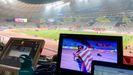 Vuelta de honor de Noah Lyles tras imponerse en los 20 metros lisos con el estadio vacío
