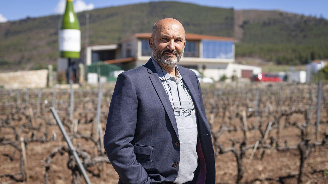 Aníbal Blanco, en uno de los viñedos de la Bodega Tapias Mariñán