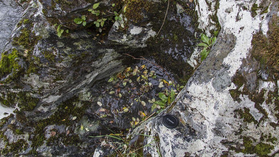 Una entalladura labrada en un peñasco de la orilla del río que probablemente sirvió para encajar la estructura de madera de la presa -hoy desaparecida- donde se captaba el agua para el canal minero