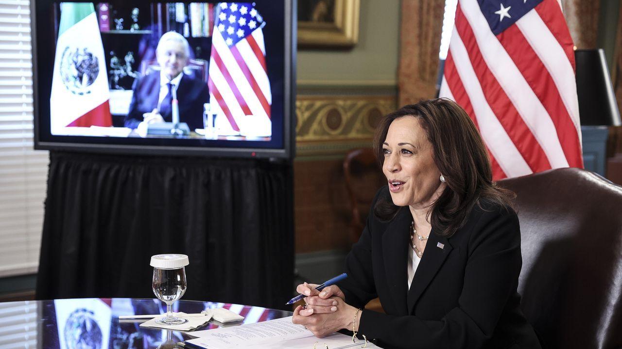 Kamala Harris, durante la reunión virtual con López Obrador