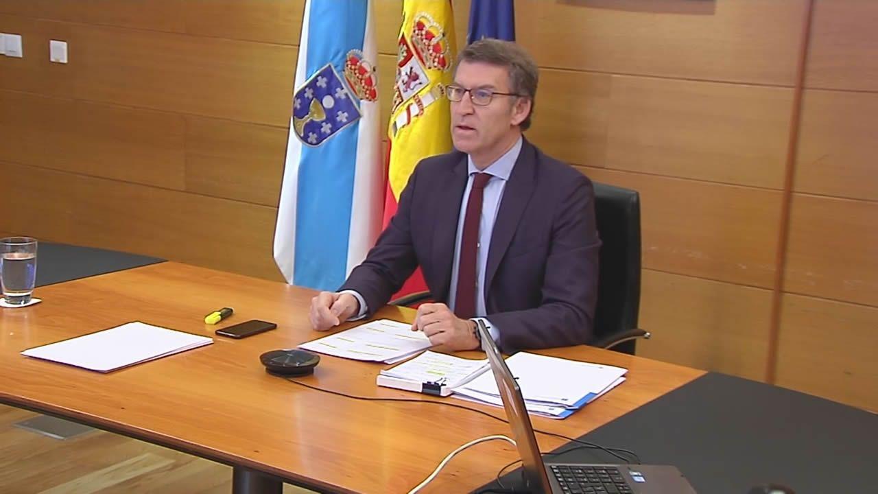 Feijoo vuelve a pedir material y tests: «A Galicia no ha llegado casi nada».El candidato de EH Bildu Koldo Leoz atiende a los medios tras la moción de censura
