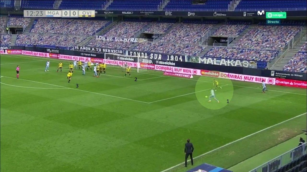 Gol del Málaga. 1-Yannis, autor del tanto, y Nahuel. 2-Rodri, en el primer palo. 3-Sangalli, que desde más allá de la frontal corre a la ayuda