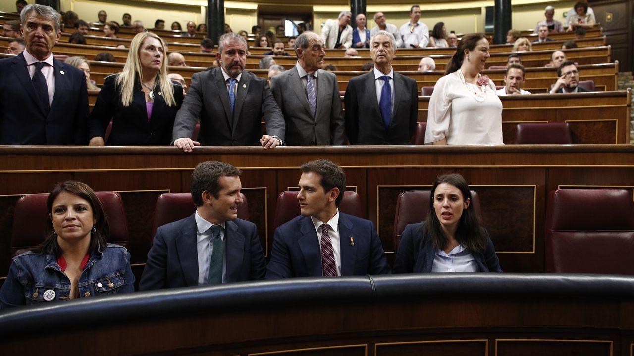 La portavoz del PSOE, Adriana Lastra; los presidentes del PP y Cs; Pablo Casado y Albert Rivera; y la portavoz de Unidas Podemos en el Congreso, Irene Montero, el jueves, en el Congreso.