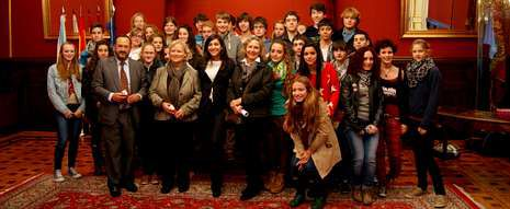 Los estudiantes alemanes estuvieron acompañados de sus compañeros españoles del colegio Peleteiro.