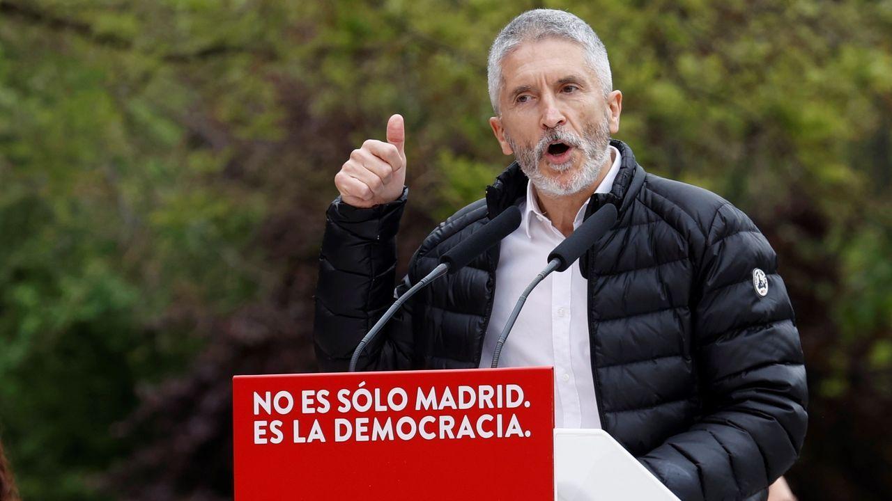 El ministro del Interior, Fernando Grande-Marlaska, este sábado, en un acto del PSOE