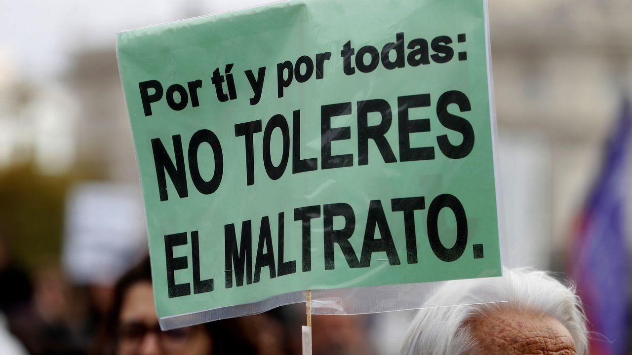 Manifestación que ha recorrido hoy las calles de Madrid para exigir el din de la violencia machista