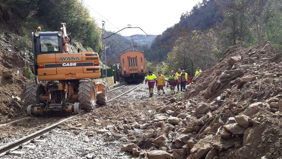 En marzo del 2018 un derrumbe de tierra y piedras hizo descarrilar la locomotora de un tren de viajeros entre Os Peares y Santo Estevo