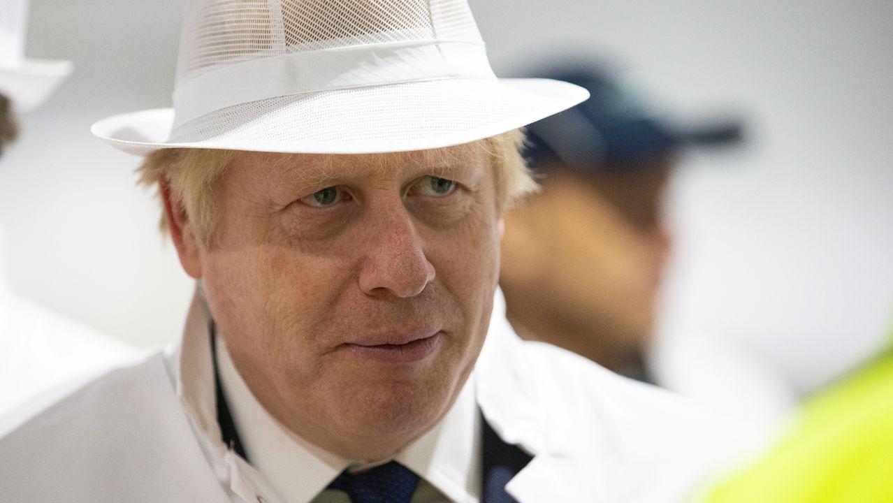 Boris Johnson durante una visita a una granja de la región de Aberdeenshire (Escocia)