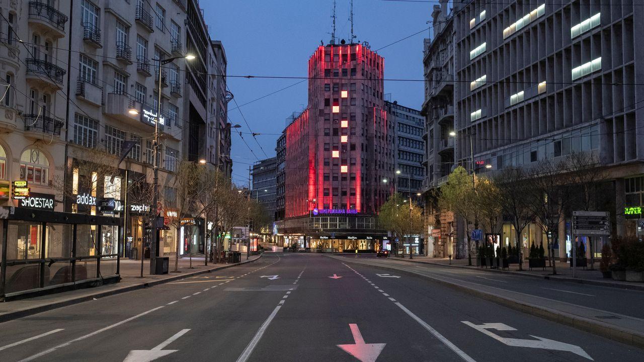 Calles desiertas en Belgrado