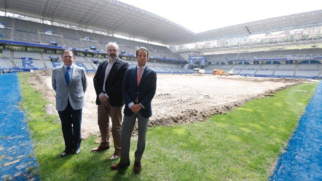 Alfredo Canti, Manolo Paredes y Nacho Cuesta en el Carlos Tartiere