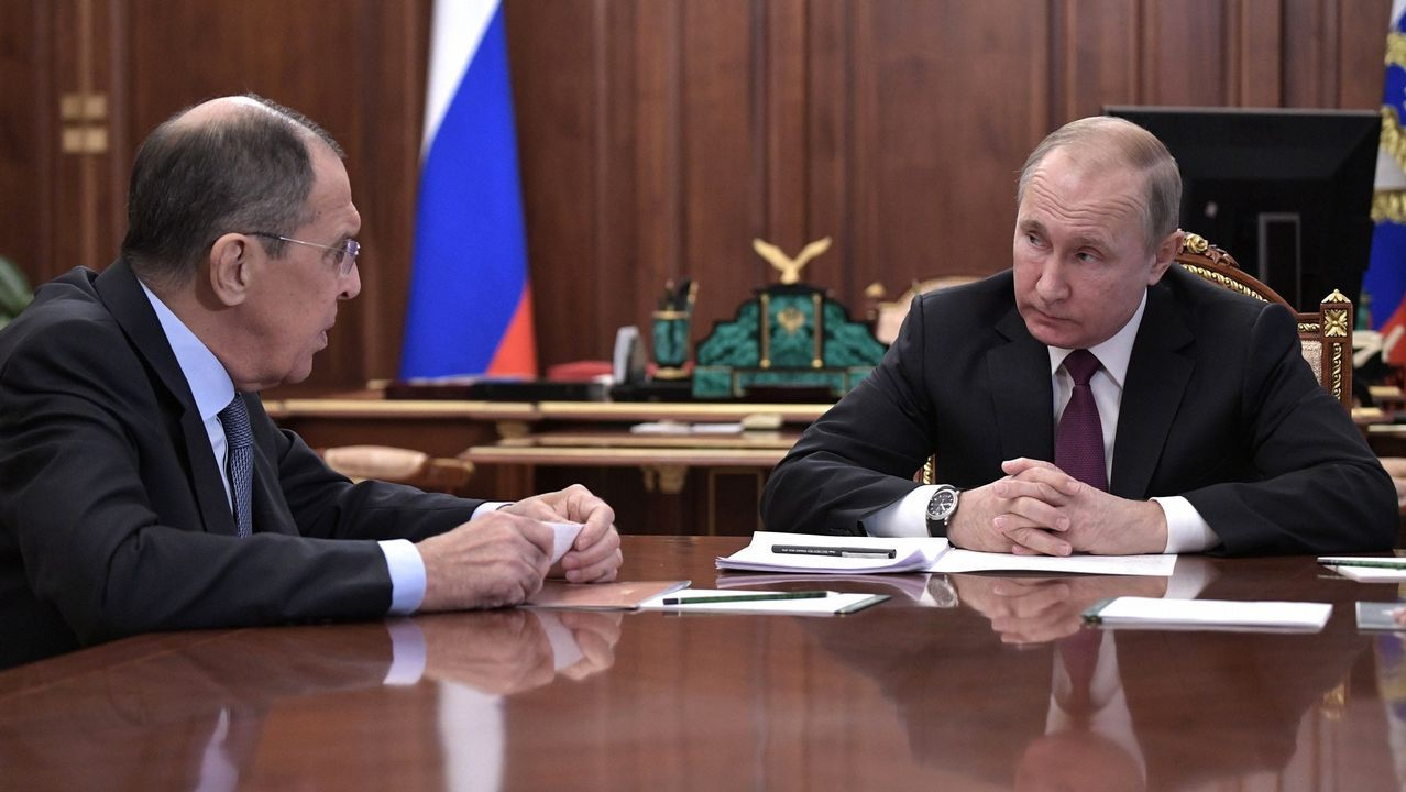 Lavrov, junto al presidente ruso, Vladimir Putin
