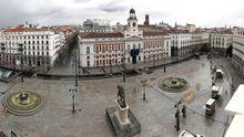 Vista panorámica de la Plaza del Sol vacía