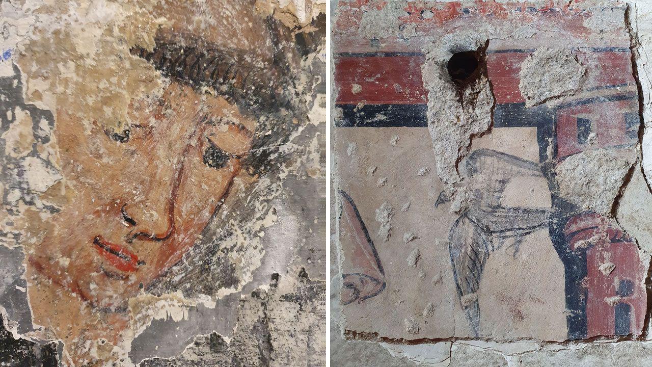 Así se restauran los frescos localizados en Santo Estevo.En la foto, la carretilla volcada en la calle Ferrocarril, en San Clodio