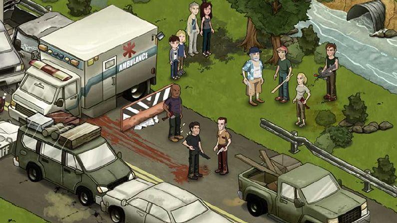 Walking.Los supervivientes, acorralados por los zombis en una escena del primer episodio de la tercera temporada de «The Walking Dead».