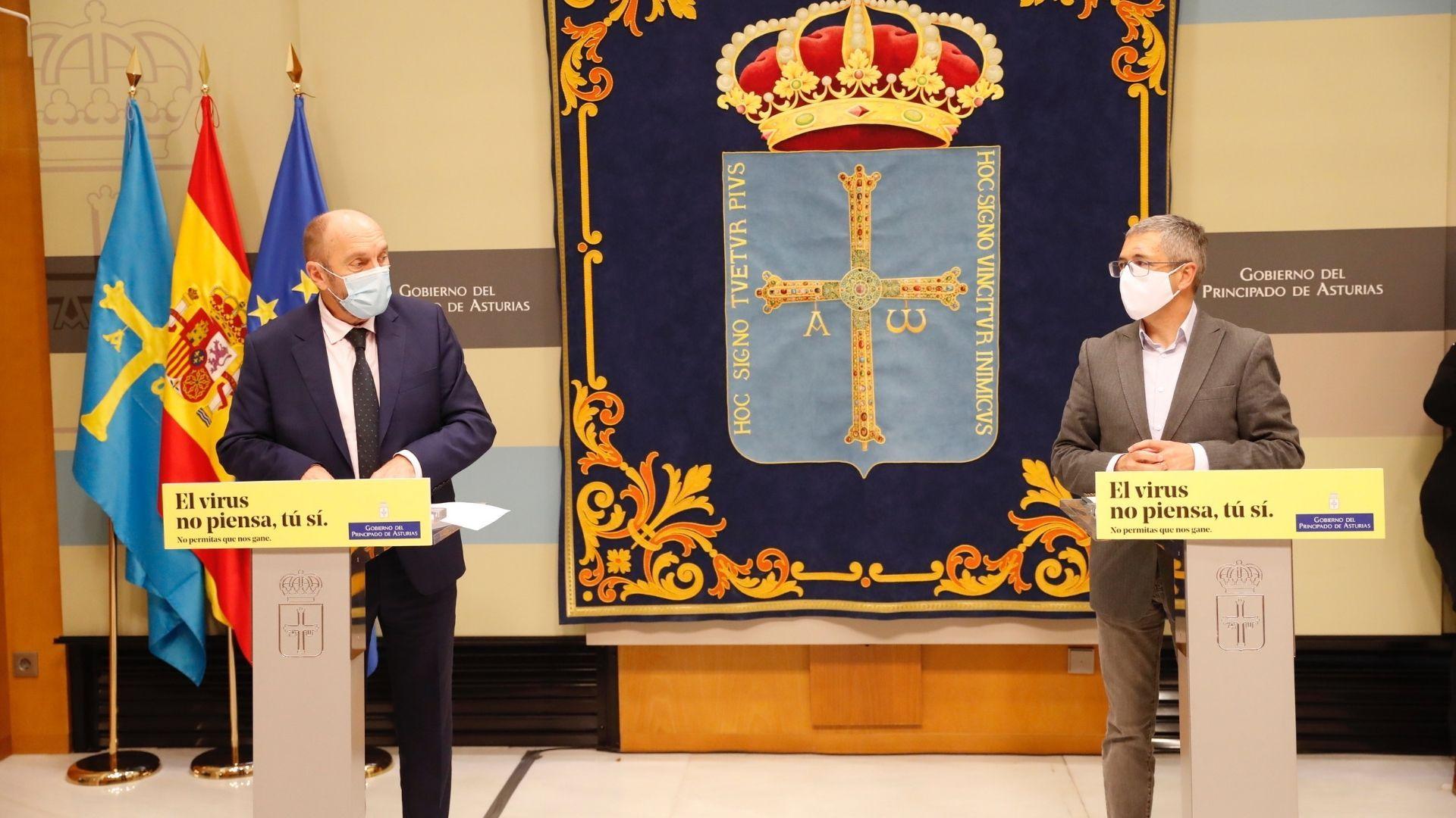 El vicepresidente y consejero de Administración Autonómica, Medio Ambiente y Cambio Climático, Juan Cofiño, y el secretario de Estado de Medio Ambiente, Hugo Morán