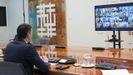 El jefe del Gobierno, Pedro Sánchez, durante la videoconferencia con los presidentes autonómicos