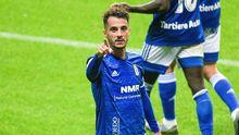 Sergio Tejera celebra su gol ante el Sporting de Gijón
