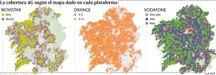 La cobertura 4G según el mapa dado en cada plataforma