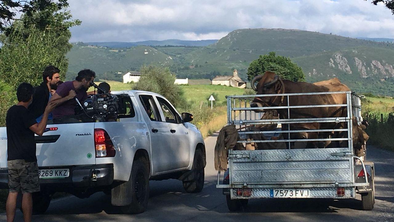 Imagen tomada el verano pasado en Navia de Suarna durante el rodaje de la película