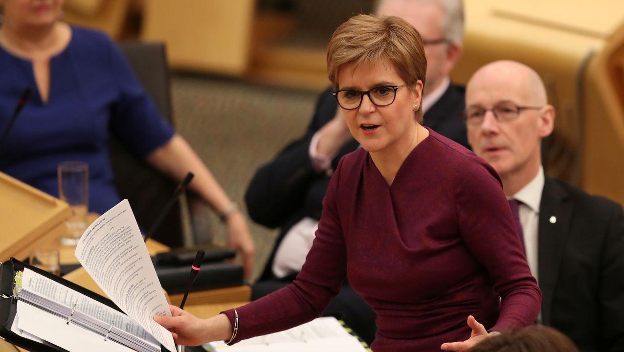 La ministra principal de Escocia, Nicola Sturgeon, durante una intervención en el Parlamento escocés